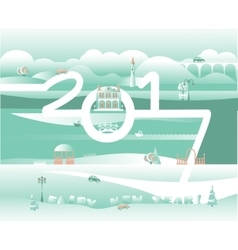 Merry xmas and happy new year greeting design with vector