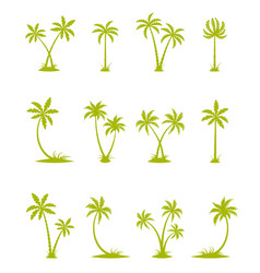 Set of silhouettes of palm trees vector