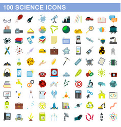 100 science icons set flat style vector