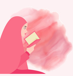 girl reading quran holy book of islam wearing veil vector image