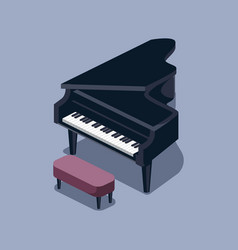 Black grand piano isometric vector