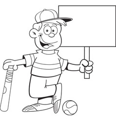 Cartoon boy leaning on a baseball bat holding a si vector