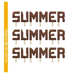 Set summer ice cream vector