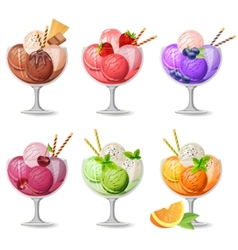 set of realistic icecreams on white vector image