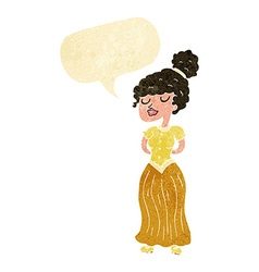 cartoon pretty victorian woman with speech bubble vector image
