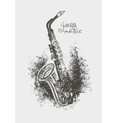 Drawing of a saxophone vector