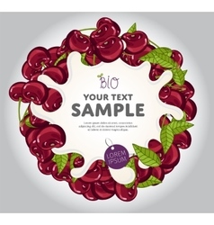 Yogurt splash on cherry wreath vector