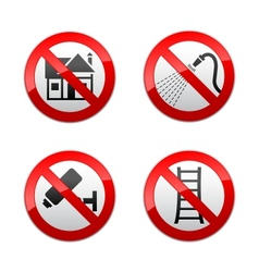 Set prohibited signs - home vector