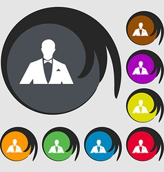 Silhouette of man in business suit icon symbols on vector