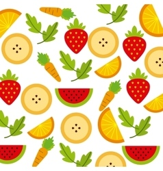 Carrot banana and strawberry icon organic food vector