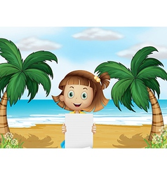 A young girl at the beach with an empty paper vector image vector image