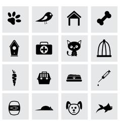 black pet icons set vector image vector image