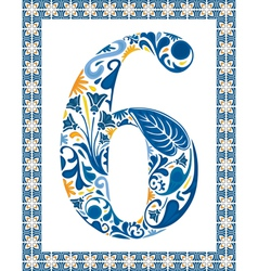 Blue number 6 vector image