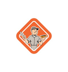 Bricklayer mason plasterer standing shield cartoon vector