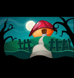 cartoon landscape with mushroom house vector image