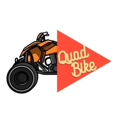 Color vintage quad bike emblem vector