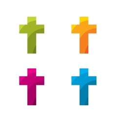 Colored cross set vector