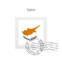 Cyprus flag postage stamp vector