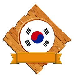 Flag of south korea on wooden board vector