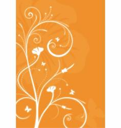 floral orange background with swirls vector image vector image