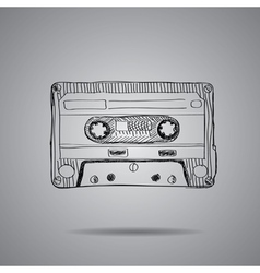 hand-drawn cassette tape vector image