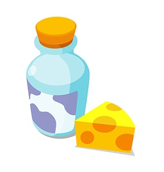 icon cheese and milk vector image vector image