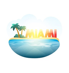 Island in sea Miami beach with palm trees ocean vector image