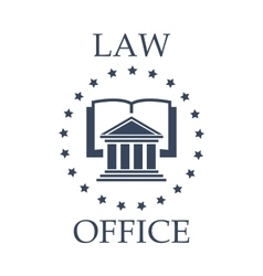 Law office icon of book atrium and stars vector