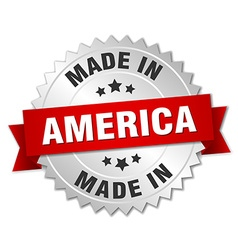 Made in america silver badge with red ribbon vector