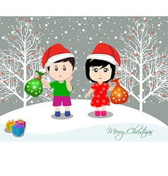 Merry christmas with happy kids vector