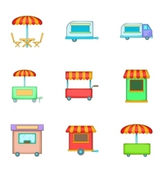 Mobile shop for street icons set cartoon style vector image