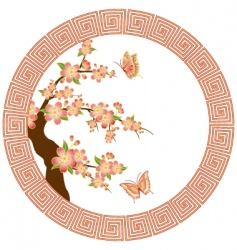 oriental cherry blossom vector image