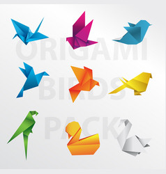 origami birds pack vector image vector image