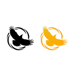 Round logos with raven vector