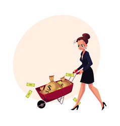 sad frustrated woman girl businesswoman pushing vector image vector image