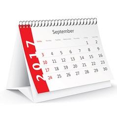 September 2017 desk calendar - vector