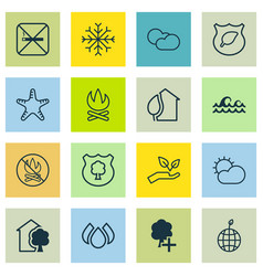 Set of 16 eco-friendly icons includes fire banned vector