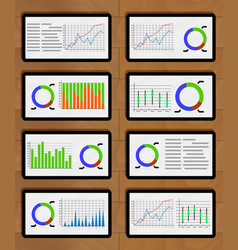 Set of chart and graphic on tablets vector