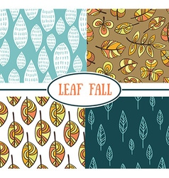 Set of seamless abstract leaf fall patterns vector image vector image