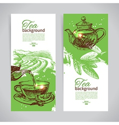Set of tea vintage banners hand drawn sketch men vector