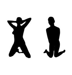 Silhouettes of women on knees vector