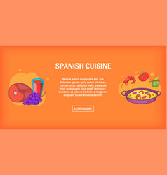 spanish cuisine banner horizontal cartoon style vector image vector image