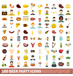 100 beer party icons set flat style vector image vector image