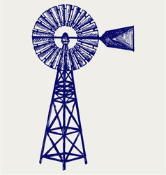 Old windmill vector