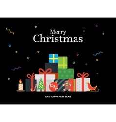 Gift boxes bunch and christmas balls candy vector