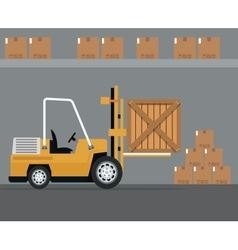 Truck forklift warehouse machine work cardborad vector