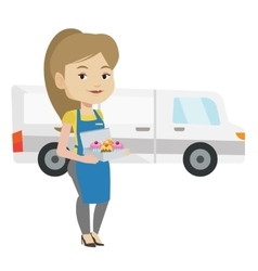 Baker delivering cakes vector