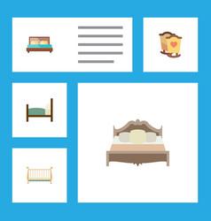 Flat bedroom set of bedroom hostel cot and other vector