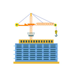 Construction of building isolated icon vector