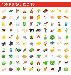 100 rural icons set isometric 3d style vector image